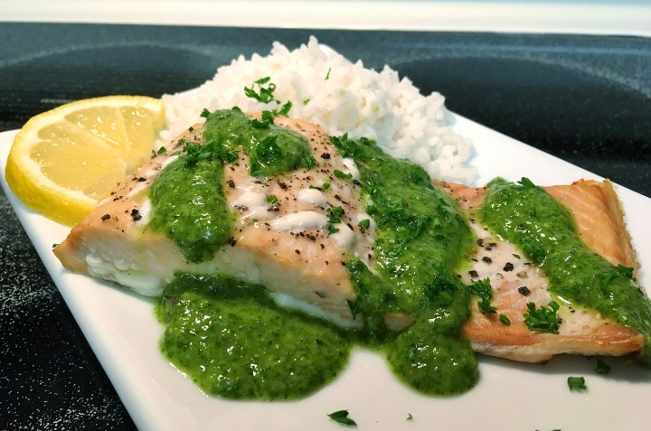 Baked Salmon With Chimichurri Sauce